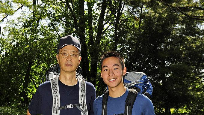 "Father/son teammates Michael (left) and Kevin Wu compete in ""The Amazing Race 17."""