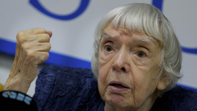 "Russian human rights activist Lyudmila Alexeyeva speaks at a news conference in Moscow, Thursday, Sept. 27, 2012. Russian non-government organizations say they will ignore a new Kremlin law obliging those of them that receive funding from abroad to register as ""foreign agents."" Lyudmila Alexeyeva, a Soviet-era dissident who heads the Moscow Helsinki Group said Thursday that Russian rights activists have ""survived the Soviet power and .. will survive this."" (AP Photo/Ivan Sekretarev)"