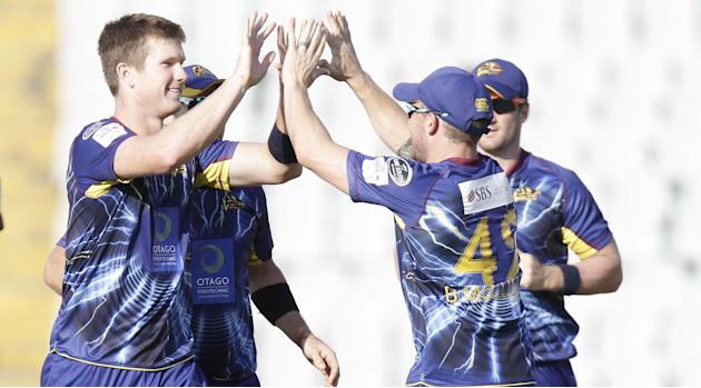 Otago player J D S NEESHAM after taking the wicket of Sangakara during the Champions League T20, 3rd Match between Kandurata Maroons and Otago Volts at Mohali stadium, Chandigarh on Sept. 18, 2013. (P