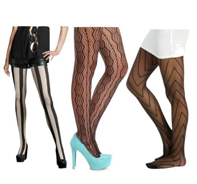 Vertical-patterned tights create the illusion that your legs are much slimmer than they are. From left: H&M, $9.50; Charlotte Russe, $7.50; Wet Seal, $7.50.