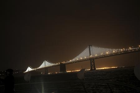 A lighted art display is shown on the San Francisco-Oakland Bay Bridge in San Francisco, California March 5, 2013. The Bay Bridge - no. 2 to its famous neighbor, Golden Gate - was decorated with some 25,000 lights by artist Leo Villareal, making a massive illuminated sculpture. REUTERS/Robert Galbraith