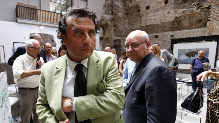 Captain of the capsized Costa Concordia Francesco Schettino attends a meeting in Rome