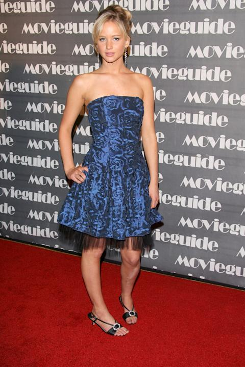 Jennifer Lawrence in a strapless blue party dress