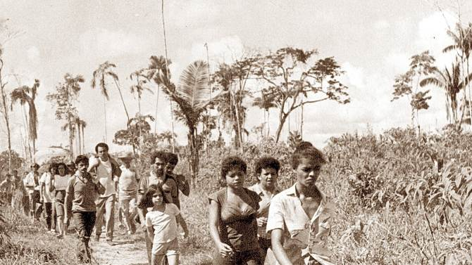 Handout photograph of then-environmental activist Marina Silva leading a movement of rubber tappers