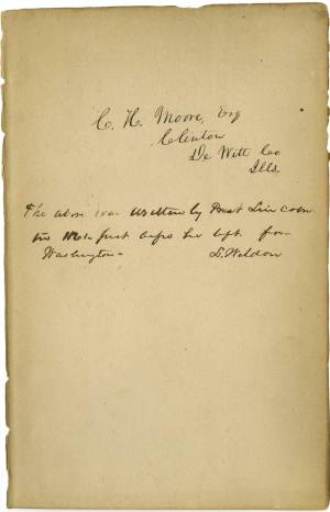 """This undated photo provided by the Abraham Lincoln Presidential Library and Museum in Springfield, Ill., shows what historical experts say is Abraham Lincoln's handwriting they've found inside a tattered book justifying racism that he may have read to better understand his opponents' thinking on slavery. """"Types of Mankind"""" was published in 1854 and circulated for decades by the Vespasian Warner Public Library in Clinton. Director Joan Rhoades brought the 700-page book to the Abraham Lincoln Presidential Library and Museum in May to determine whether an inscription inside was made by the former president who worked to free the country's slaves through the Emancipation Proclamation. (AP Photo/Courtesy of the Abraham Lincoln Presidential Library and Museum)"""