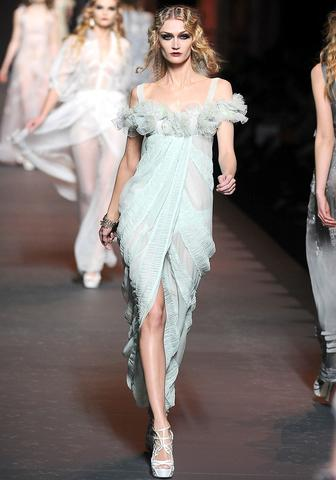Christian Dior, FW 2011  Did Kate Moss end the Galliano boycott? I hope so, because the soft mint…