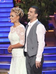 Katherine Jenkins and Mark Ballas listen to the judges comments on &#39;Dancing,&#39; May 7, 2012 -- ABC