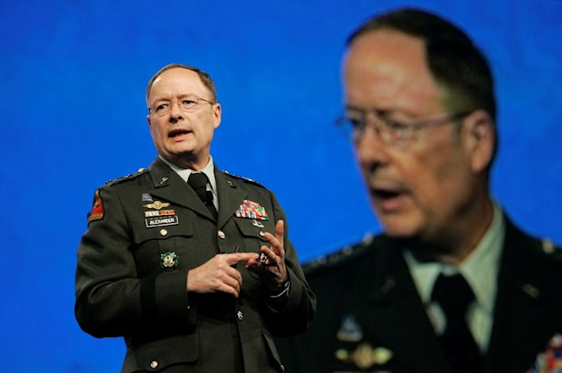 FILE - In this April 21, 2009, photo, then-Lt. General Keith Alexander, who was then-director of the National Security Agency, speaks at the RSA Conference in San Francisco. Without warning, the elect