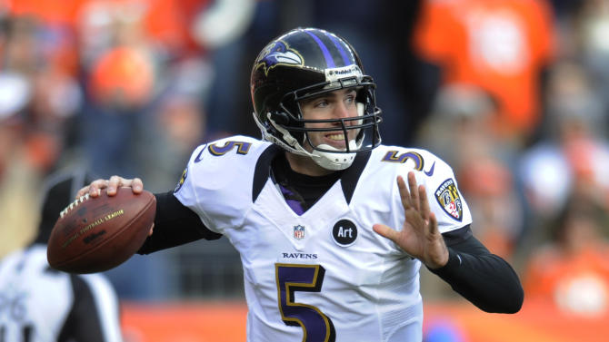 Baltimore Ravens quarterback Joe Flacco (5) rolls out of the pocket to throw against the Denver Broncos in the second quarter of an AFC divisional playoff NFL football game, Saturday, Jan. 12, 2013, in Denver. (AP Photo/Jack Dempsey)