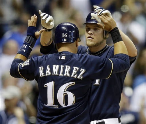 Hart leads Brewers past Cubs in 13 innings