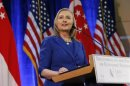 U.S. Secretary of State Clinton gives a speech at the Singapore Management University in Singapore