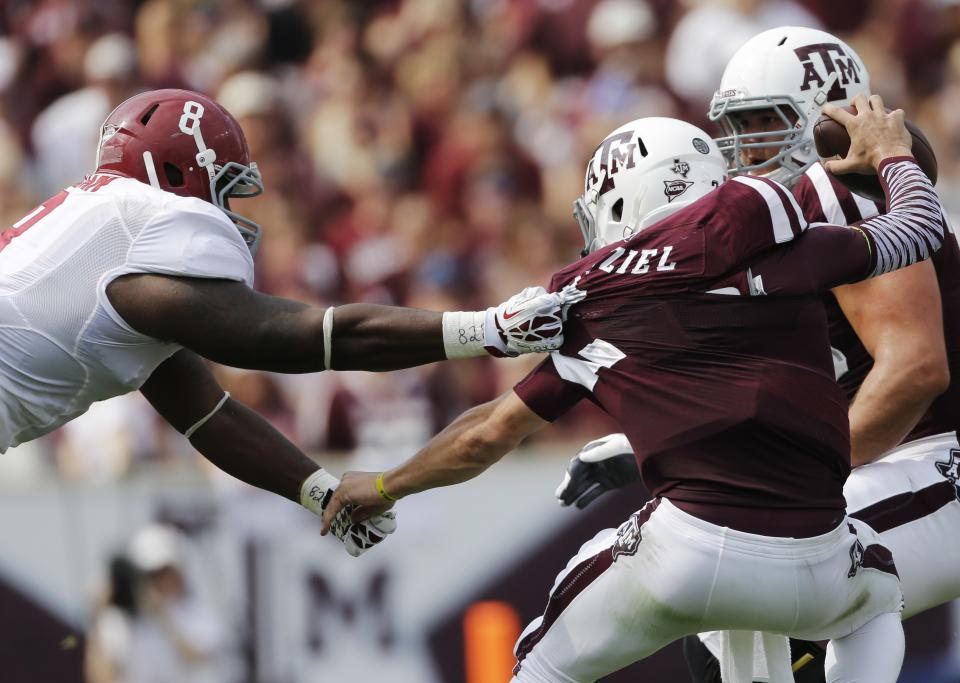 No. 6 A&M loses to top-ranked Alabama 49-42