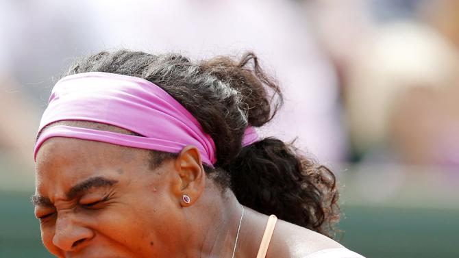 Serena Williams of the U.S. reacts during the women's singles match against Anna-Lena Friedsam of Germany at the French Open tennis tournament at the Roland Garros stadium in Paris