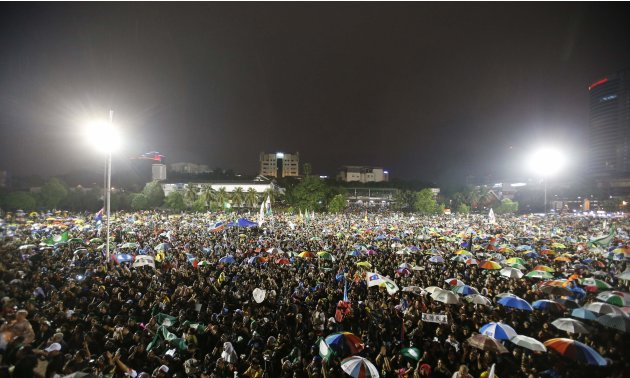 File photo of demonstrators gathering to protest against recent election results in Petaling Jaya