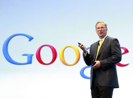 File photo of Google Chairman Eric Schmidt speaking at a Motorola phone launch event in New York