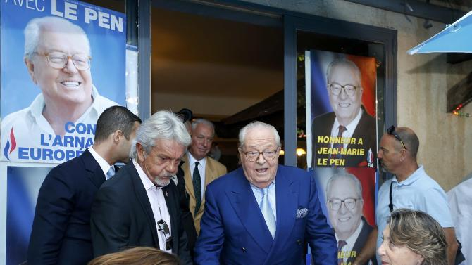 French Far-Right Front National founder Jean-Marie Le Pen speaks to journalists during a news conference on the sidelines of the National Front political party summer university in Marseille