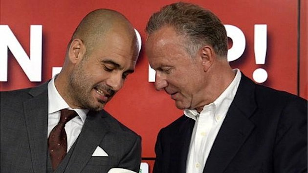 Pep Guardiola and Karl-Heinz Rummenigge