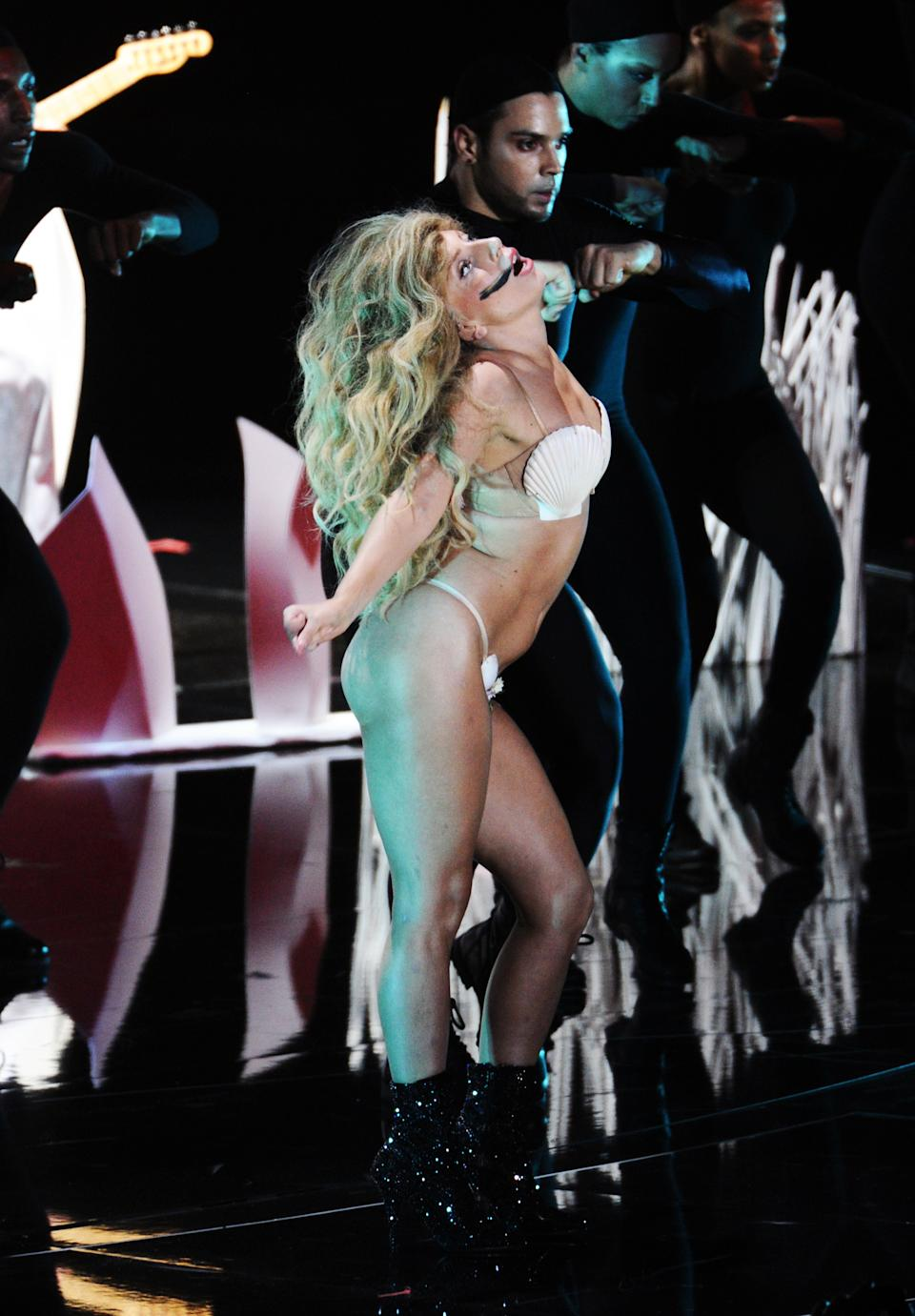 "Lady Gaga performs ""Applause"" at the MTV Video Music Awards on Sunday, Aug. 25, 2013, at the Barclays Center in the Brooklyn borough of New York. (Photo by Charles Sykes/Invision/AP)"