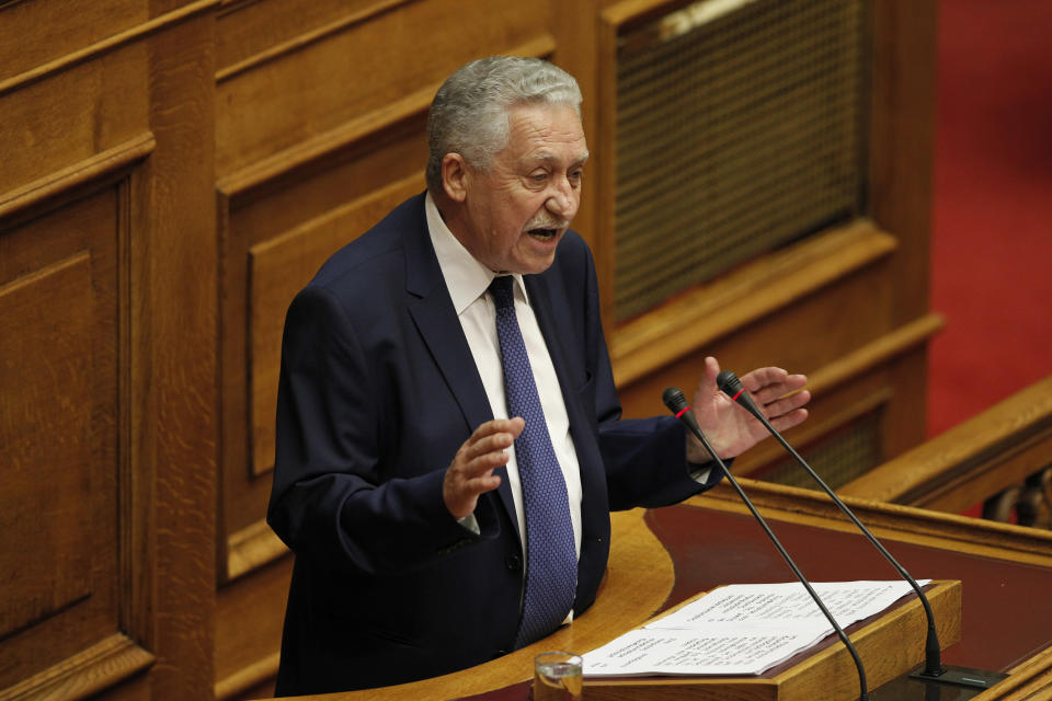 Greek leader of the Left Democratic party Dimar, Fotis Kouvelis speaks at the Parliament in Athens, Saturday, July 7, 2012. ( AP Photo/Kostas Tsironis)