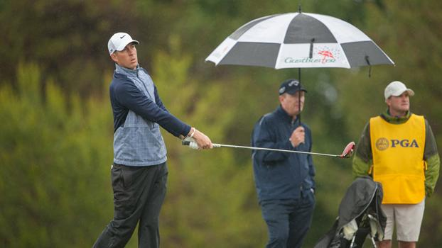 Erdmann, almost local, embraces wet conditions