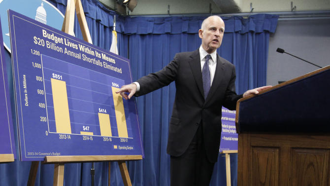 Gov. Jerry Brown points to a chart showing an increase in education funding in his proposed 2013-14 state budget that he unveiled at the Capitol in Sacramento, Calif., Thursday, Jan. 10, 2013. Brown is proposing to spend $2.7 billion more on K-12 education for the next fiscal year. (AP Photo/Rich Pedroncelli)