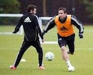 Chelsea's midfielder Frank Lampard (R), pictured during a training session with teammate Juan Mata, at the club's complex near Cobham, on May 15. Chelsea are to play Bayern Munich in the UEFA Champions League final on Saturday, in Munich
