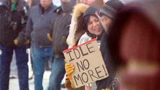 Idle No More demonstrators take part in a round dance in Winnipeg on Friday. Several rallies and blockades are being planned for Wednesday as part of a national day of action.