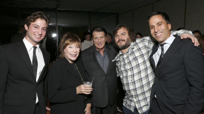 """ICM's Ared Ceizler, Shirley MacLaine, ICM's Jack Gilardi, Jack Black and ICM's Justin Deanda attend a celebration for """"Bernie"""" by Millennium Entertainment on Tuesday Oct. 30, 2012, in Los Angeles.  (Photo by Todd Williamson/Invision for Millennium Entertainment/AP Images)"""