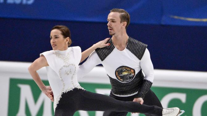 Russia's Ksenia Stolbova and Fedor Klimov perform their short program during the European Figure Skating championships in Stockholm