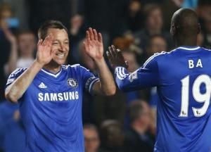 Chelsea's Terry celebrates with Ba after defeating Tottenham Hotspur in their English Premier League soccer match at Stamford Bridge in London