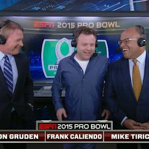 Frank Caliendo in booth at 2015 Pro Bowl