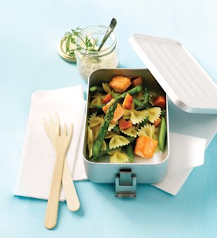 Packed pasta lunch, lunchbox, Feb 13, p94