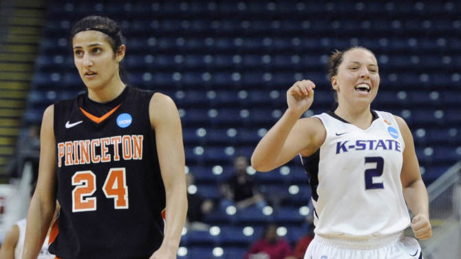 FILE - In this March 17, 2012 file photo, Princeton's Niveen Rasheed (24) and Kansas State's Brittany Chambers (2) react late in the second half of Princeton's loss in an NCAA tournament first-round college basketball game in Bridgeport, Conn. There is only one thing missing from Rasheed's incredible career at Princeton: an NCAA tournament victory. She hopes to change that this season. Three times, Rasheed has seen the Tigers reach the NCAAs and come away empty, including last season's three-point loss to Kansas State. She doesn't want it to be four straight. (AP Photo/Jessica Hill, File)