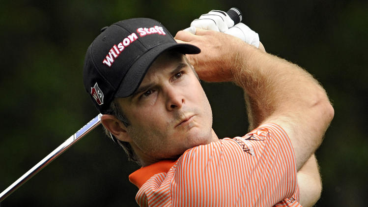 Kevin Streelman watches his shot down the ninth fairway during the second round of the RBC Heritage golf tournament in Hilton Head Island, S.C., Friday, April 19, 2013. (AP Photo/Stephen Morton)