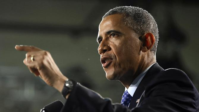 President Barack Obama gestures as he speak during his visits Manor New Technology High School, Thursday, May 9, 2013 in Manor, Texas. (AP Photo/Pablo Martinez Monsivais)
