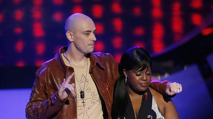 Phil Stacey and LaKisha Jones wait to hear who is eliminated on sixth season of American Idol.