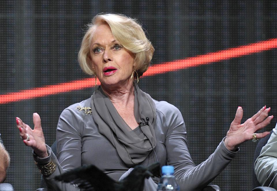 "Actress Tippi Hedren appears onstage during HBO's TCA panel for ""The Girl"" at the Beverly Hilton hotel on Wednesday, Aug. 1, 2012, in Beverly Hills, Calif. (Photo by John Shearer/Invision/AP)"