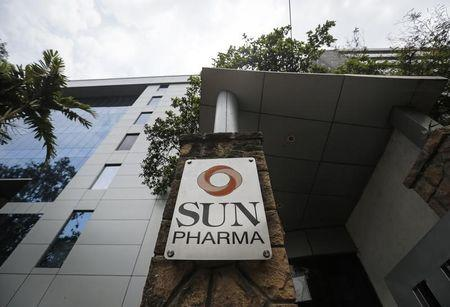 A logo of Sun Pharmaceutical Industries Ltd at its research and development center in Mumbai