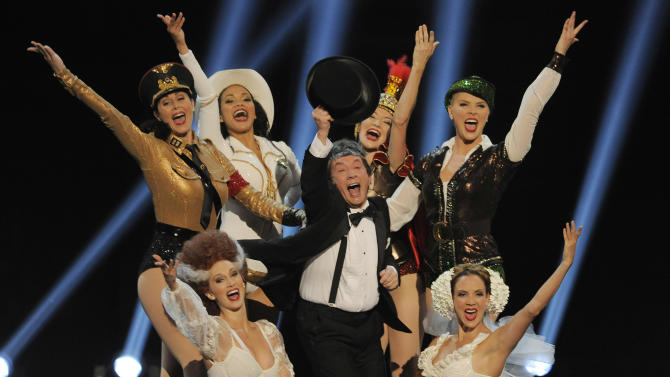 Martin Short, center, and dancers perform a musical tribute to honoree Mel Brooks during the American Film Institute's 41st Lifetime Achievement Award Gala at the Dolby Theatre on Thursday, June 6, 2013 in Los Angeles. (Photo by Chris Pizello/Invision/AP)