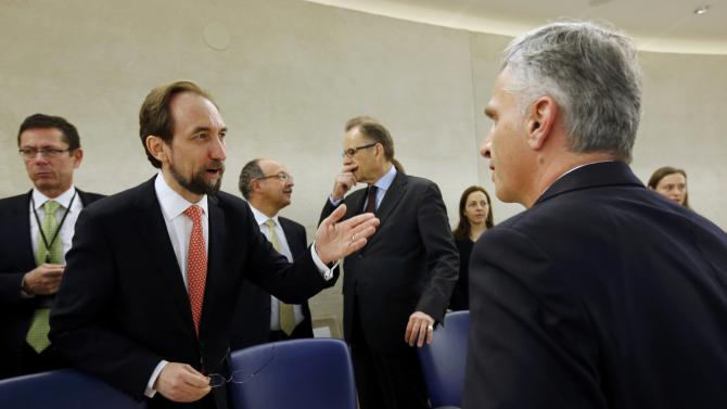 United Nations High Commissioner  for Human Rights Ra?ad Al Hussein talks with Swiss Foreign Minister Burkhalter before the 28th Session of the Human Rights Council at the United Nations in Geneva