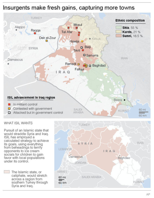 Map shows areas of militant activity, ethnic divisions and militant's goals.