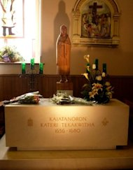 This file photo shows a shrine dedicated to Kateri Tekakwitha, at a sanctuary in Kahnawake near Montreal, Canada, pictured on October 7. On October 21, in Rome, Pope Benedict XVI will canonize Kateri Tekakwitha, as the first Native American saint
