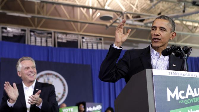 U.S. President Obama delivers remarks at a campaign event for McAuliffe for Governor in Arlington