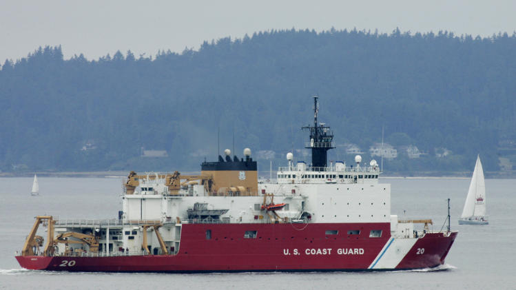 FILE - This Aug. 6, 2007 file photo shows the U.S. Coast Guard icebreaker Healy leaving Seattle for a scientific mission in the Arctic that will include breaking ice well north of Barrow, Alaska. The U.S. is racing to keep pace with stepped-up activity in the once sleepy Arctic frontier, but it is far from being in the lead. (AP Photo/Ted S. Warren, File)