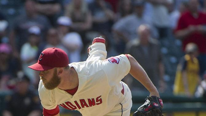 Cleveland Indians' Cody Allen watches his pitch to Toronto Blue Jays' Kevin Pillar during the ninth inning of a baseball game in Cleveland, Sunday, May 3, 2015. The Indians won the game 10-7. (AP Photo/Phil Long)