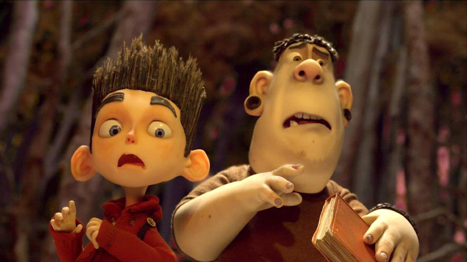 "This film image released by Focus Features shows the character Norman, voiced by Kodi Smit-McPhee, left, and Alvin, voiced by Christopher Mintz-Plasse, in the 3D stop-motion film, ""ParaNorman."" (AP Photo/Focus Features)"