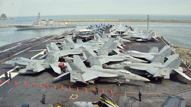 The flight deck of US aircraft carrier the USS George Washington docked at a South Korean naval port in Busan on July 11, 2014