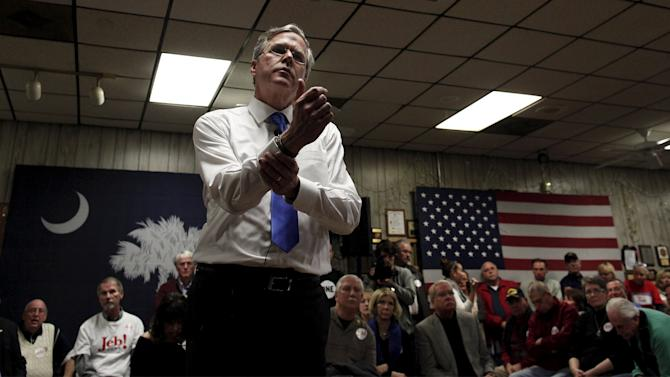 U.S. Republican presidential candidate and former Florida Governor Jeb Bush, speaks at a town hall meeting at VFW Post #10420 in Murrells Inlet
