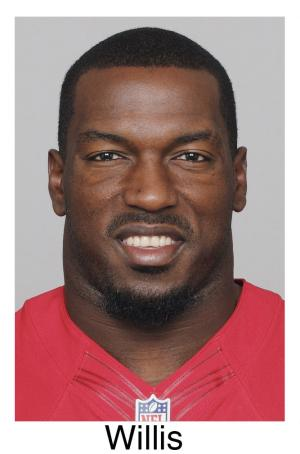 FILE - This 2012 file photo shows Patrick Willis of the San Francisco 49ers, a member of The Associated Press 2012 NFL football All-Pro defensive team.  (AP Photo/File)