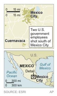 Map shows area where two U.S. government employees were shot Friday